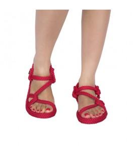 Nomadic Mykonos, Kadın Halat İp Sandalet - Kırmızı ,- Myk1001K