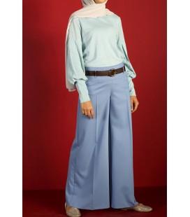 AllDay Mavi Bol Paça Korsajlı Pantolon 5064STFN