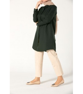 AllDay Zümrüt Yeşili Gizli Patlı Kadın Gömlek - 51948