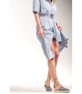 Derimod Hakiki Deri Mavi Kadın Espadril Sandalet18SFD106214