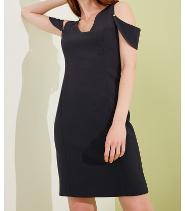 Journey Kadın Lacivert Elbise Ön-Arka V Yaka, Kol Üstü Düşük Bant Parçalı, Kalem 19YELB089