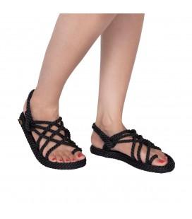 Nomadic Kadın Sandalet, Halat & İp Sandalet - Siyah - Nom.0020.K