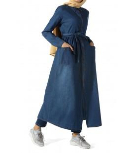 AllDay Tesettür Tunik, Koyu Mavi Düğmeli, Kuşaklı Kadın Kot Tunik - 252-7000