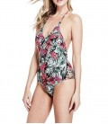 Guess Kadın Mayo Tropical Floral V-Neck, One-Piece Swimsuit - E82J33MP004-F855