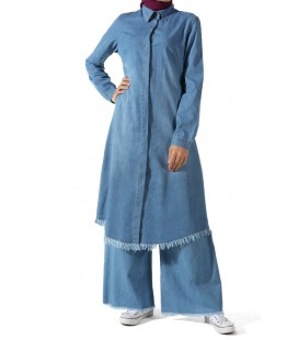 Allday Kadın Mavi Saçaklı Kot Tunik 252-5000