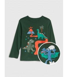 Gap Bebek | Uzun Kollu Baskılı Yeşil T-Shirt 496430