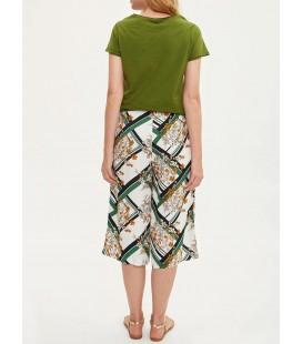 Defacto Kadın Yeşil Bağcık Detaylı Desenli Rahat Kesim Kapri I6823AZ