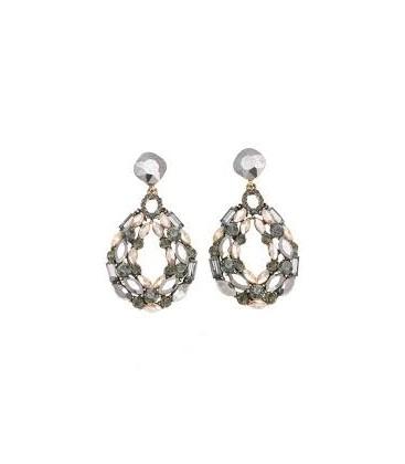 Fashion Jewelry Füme Gold Taşlı Küpe - 5A185BF22