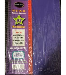 Defne Defter Star Note Book 11 Konulu 8+3 8 Bölüm Kareli 3 Bölüm Çizgili