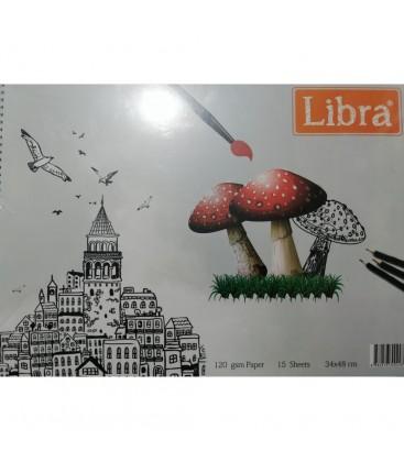 Libra 34x48 Spiralli Kara Kalem Resim Defteri 120 Gr 15 Sayfa