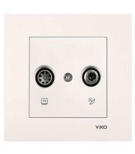 Viko Karre - Meridian Krem Tv-Sat Geçişli Mekanizma Çerçeve Dahil