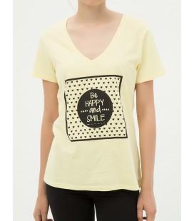 Koton Kadın Baskılı T-Shirt - Sarı 7KAL11974JK158