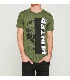 Koton Yazılı Baskılı Erkek T-Shirt  Haki 8YAM11171MK801