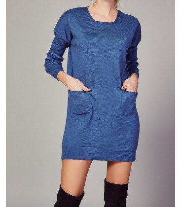 Happiness İst. Kadın Indigo İki Cepli Kolları Elastik Triko Mini Elbise TK00008