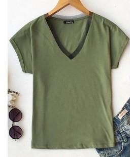 5iN1 Can Polat Yakası Tüllü Haki Kadın T-Shirt