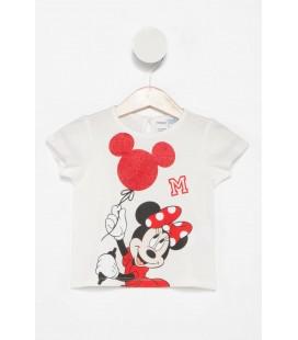 Defacto Beyaz Kız Bebek Minnie Mouse Baskılı Lisanslı T-shirt I8557A2.18SP.WT43