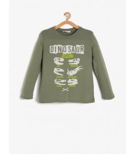 Koton Erkek Çocuk Baskılı T-Shirt - Haki 9KKB16236OK886