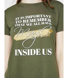 Koton Kadın Yazılı Baskılı T-Shirt - Haki 8YAK13632GK801