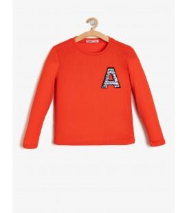 Koton Kız Çocuk Pul Detaylı T-Shirt - Turuncu 9KKG17955AK200