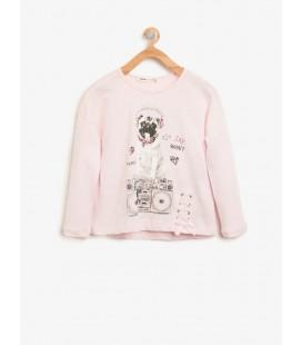 Koton Kız Çocuk Baskılı T-Shirt - Pembe 8KKG17189AKBT4