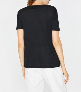 Koton Kadın Dantel Detaylı T-Shirt - Siyah 8YAK13529EK999