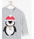 Koton Penguen Desenli Sweatshirt Gri 6KKG19274OK023