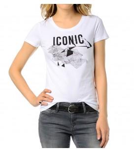 Mavi jeans 165509-620 Iconic Baskılı Tişört Beyaz