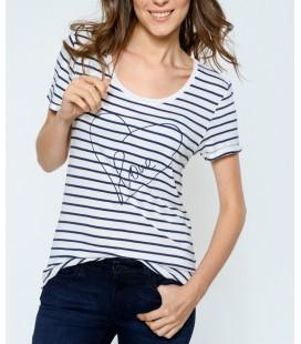 Mavi jeans 165745-21649 Baskılı Kadın Penye Beyaz Çizgili