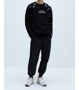 Zara Erkek Boya Desenli Siyah Swearshirt 0495/405