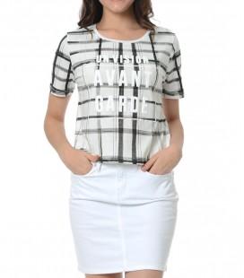 Mavi Baskılı Kadın Tişört 165482-620 Baskılı Penye Beyaz