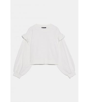 Zara Kadın Kirli Beyaz Volanlı Swearshirt 1660/307
