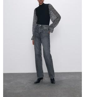 Zara Kadın Kontrast Kollu Tişört 5644/021