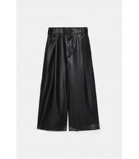 Zara Kadın Siyah Suni Deri Bermuda Pantolon 7102/159