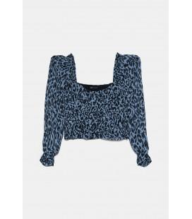 Zara Kadın Mavi Leopar Desenli Top Bluz 3067/010