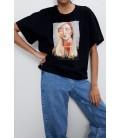 Zara Kadın Siyah Baskılı Tişört 5644/031