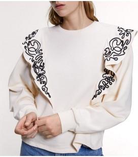 Zara Fırfırlı Şeritli Sweatshirt Krem Rengi 0085/152/712