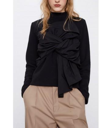 Zara Kadın Fiyonklu Sweatshirt Siyah 0264/405/800