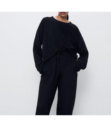 Zara Oyumlu Kadın Sweatshirt Siyah 0264/005/800