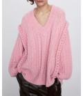 Zara Listing Düğümlü Pembe Kadın Kazak 5755/008