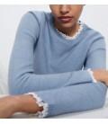 Zara Kadın Sweatshirt Mavi Triko 2142/006/400