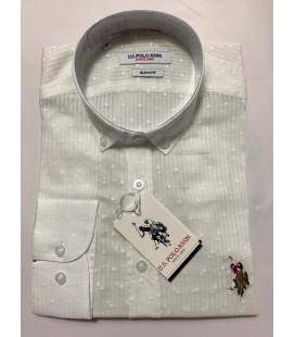 U.S. Polo Erkek Gömlek G081SZ004.000.849503 Desenli Beyaz