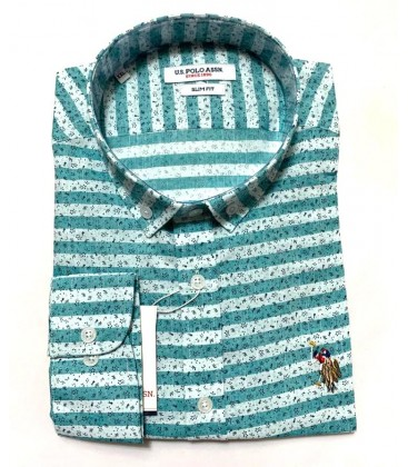 U.S. Polo Erkek Gömlek G081SZ004.000.849503 Yaprak Desenli Yeşil