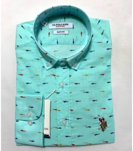 U.S. Polo Erkek Gömlek G081SZ004.000.849503 Balık Desenli Turkuaz