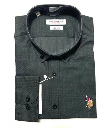 U.S. Polo Erkek Gömlek G081SZ004.000.849503 Siyah Noktalı Gömlek