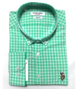 U.S. Polo Erkek Gömlek G081SZ004.000.849503 Kareli Yeşil Gömlek