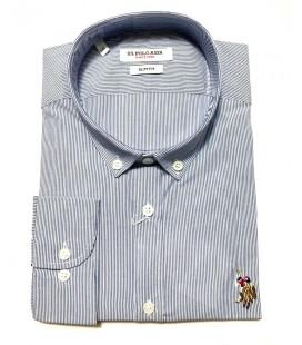 U.S. Polo Erkek Gömlek G081SZ004.000.849503 Çizgili Mavi Gömlek