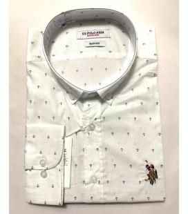 U.S. Polo Erkek Gömlek G081SZ004.000.849503 Beyaz Desenli Gömlek