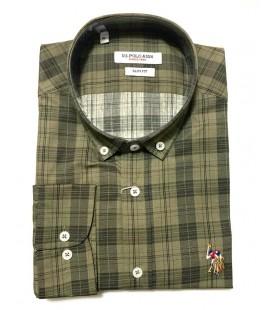 U.S. Polo Erkek Gömlek G081SZ004.000.849503 Kareli Haki Gömlek