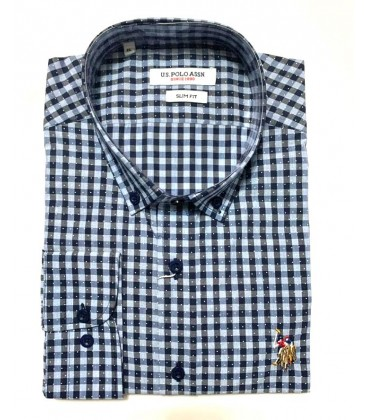 U.S. Polo Erkek Gömlek G081SZ004.000.849503 Kareli Mavi Gömlek