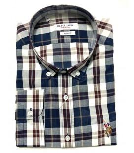 U.S. Polo Erkek Gömlek G081SZ004.000.849503 Kareli Lacivert Gömlek